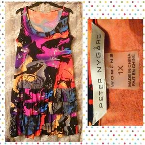 Peter Nygård Multicolor Graffeti Tank Dress Sz 1X